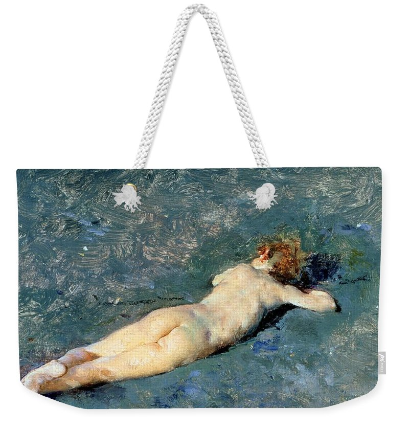 Nude Weekender Tote Bag featuring the painting Beach At Portici by Mariano Fortuny y Marsal