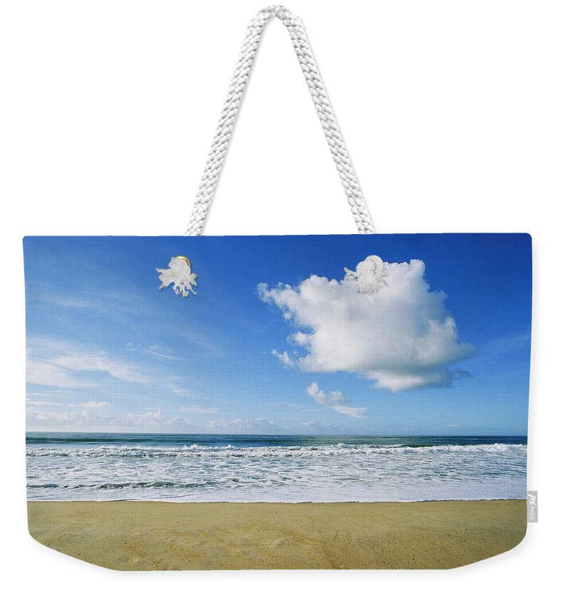 North America Weekender Tote Bag featuring the photograph Beach, Ocean, Sky, And Clouds by Skip Brown