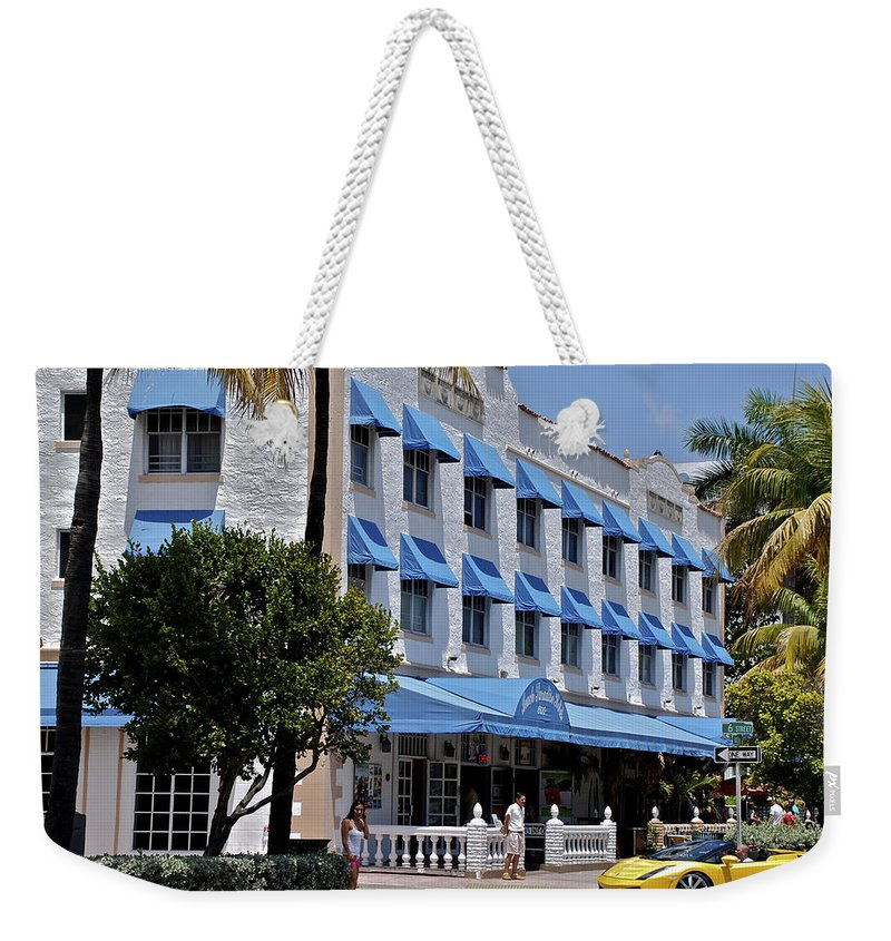 Miami Weekender Tote Bag featuring the photograph Beach Paradise Hotel by Eric Tressler