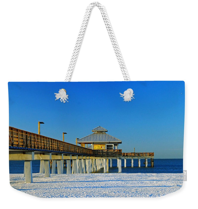 Blue Sky Weekender Tote Bag featuring the photograph Beach Pier by Gary Wonning