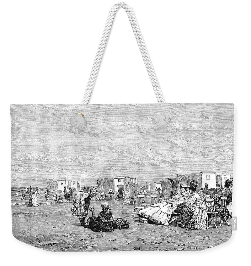 19th Century Weekender Tote Bag featuring the photograph Beach Scene, 19th Century by Granger