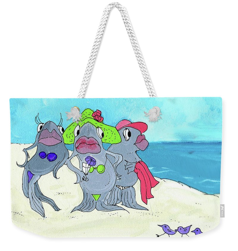 Fish Weekender Tote Bag featuring the mixed media Beached Ladies by Lizi Beard-Ward