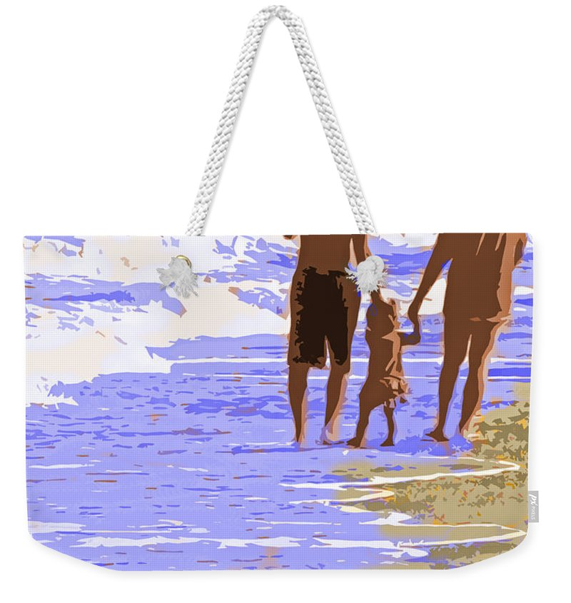 Couple Weekender Tote Bag featuring the photograph Beachwalk by Ian MacDonald