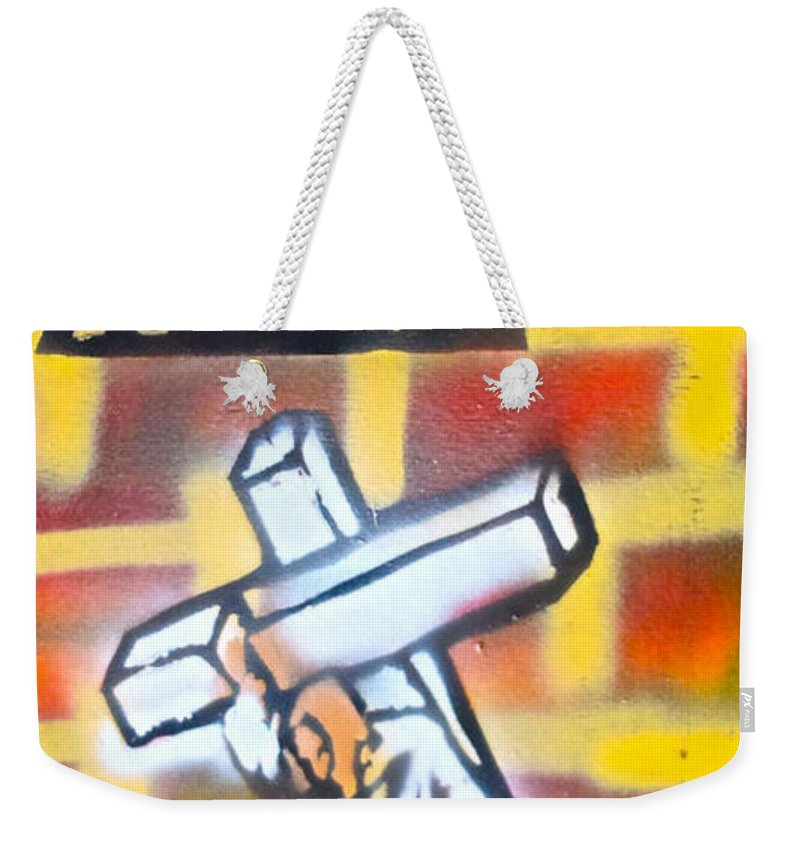 Graffiti Weekender Tote Bag featuring the painting Bearing The Cross by Tony B Conscious