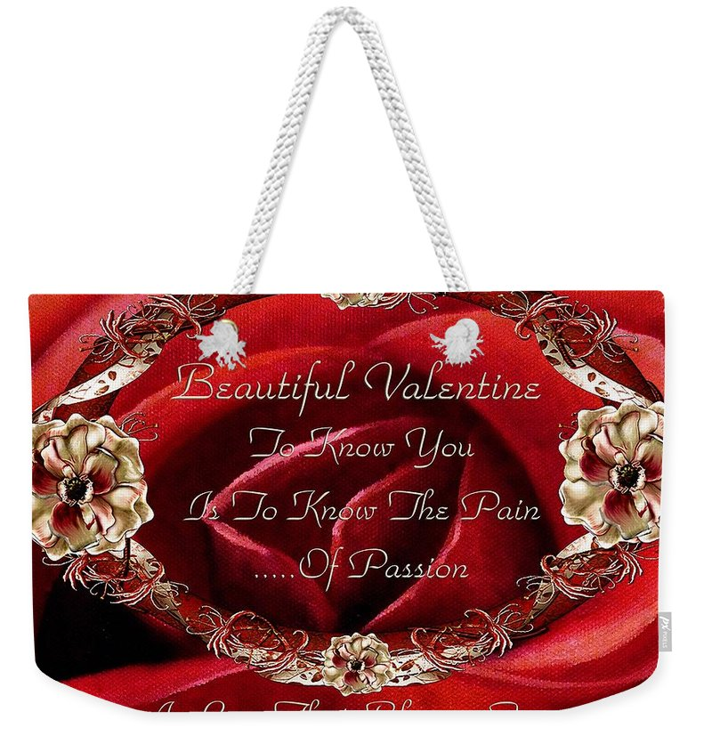 Valentine Weekender Tote Bag featuring the painting Beautiful Valentine by Georgiana Romanovna