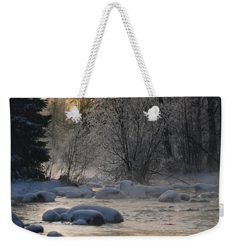 Marshes Weekender Tote Bag featuring the photograph Beautiful View Of A Stream Finding by Mattias Klum