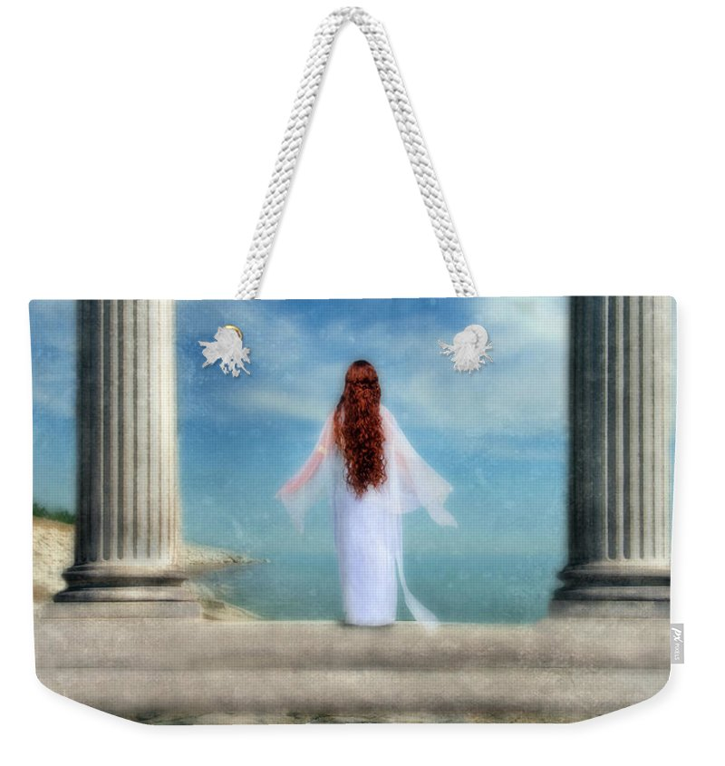 Woman Weekender Tote Bag featuring the photograph Beautiful Woman In White by Jill Battaglia