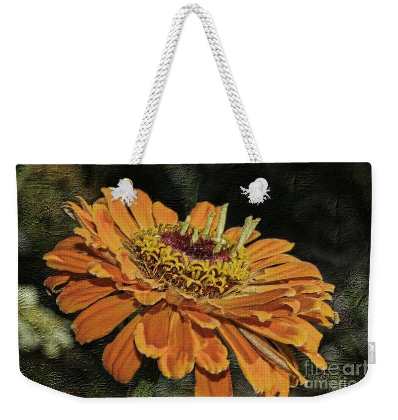 Flower Weekender Tote Bag featuring the photograph Beauty In Orange Petals by Deborah Benoit