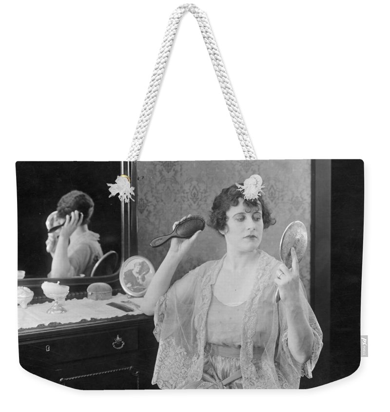 1920s Weekender Tote Bag featuring the photograph Bedroom Scene, 1920s by Granger