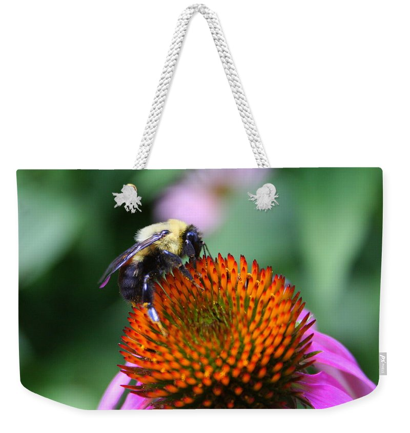 Bumblebee Weekender Tote Bag featuring the photograph Bee-ing Happy by Laurel Talabere
