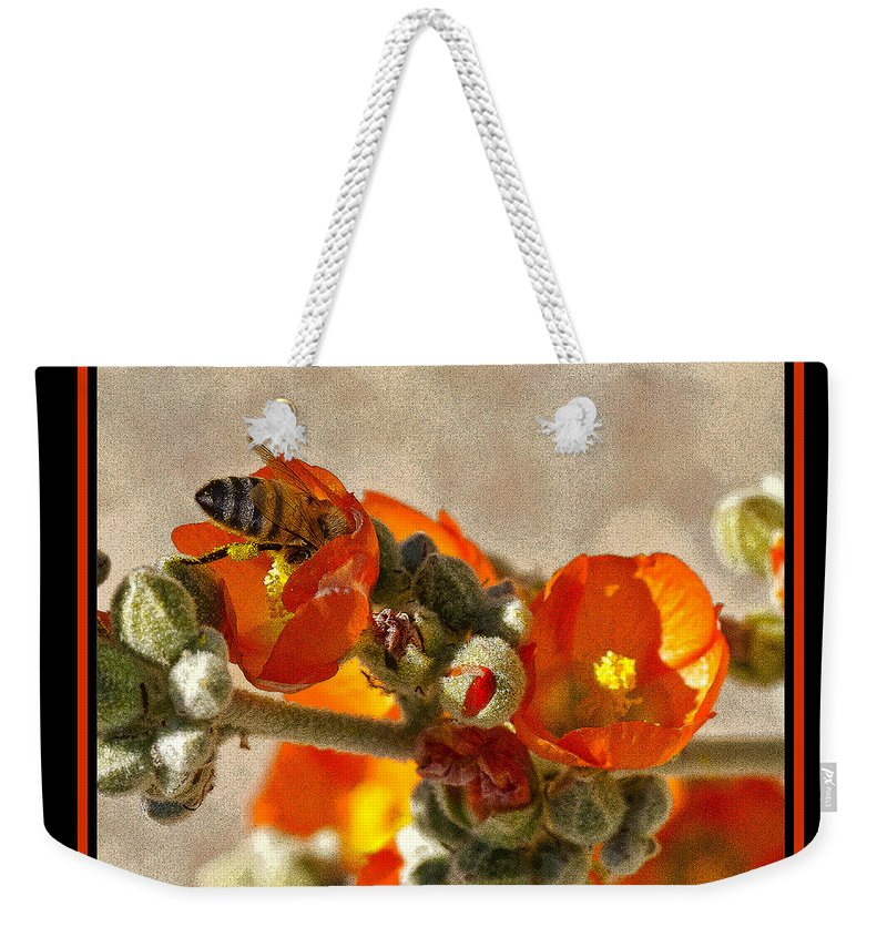 Bee Weekender Tote Bag featuring the photograph Bee On Red Flower 4 by Larry White