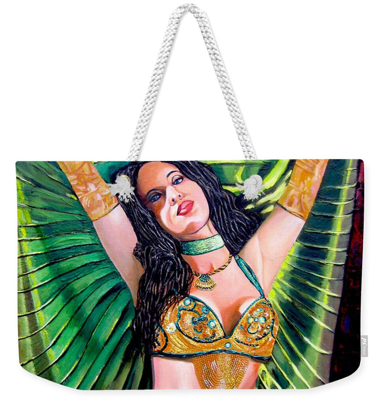 Girl Weekender Tote Bag featuring the painting Belly Dancer by Jose Manuel Abraham