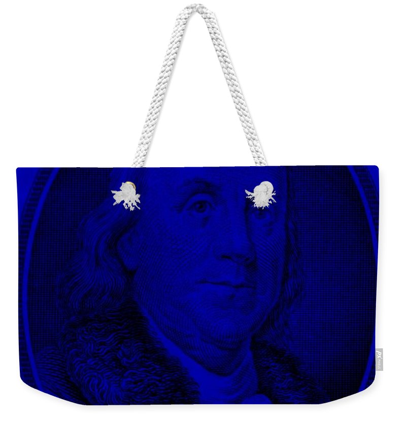 Ben Franklin Weekender Tote Bag featuring the photograph Ben Franklin In Blue by Rob Hans