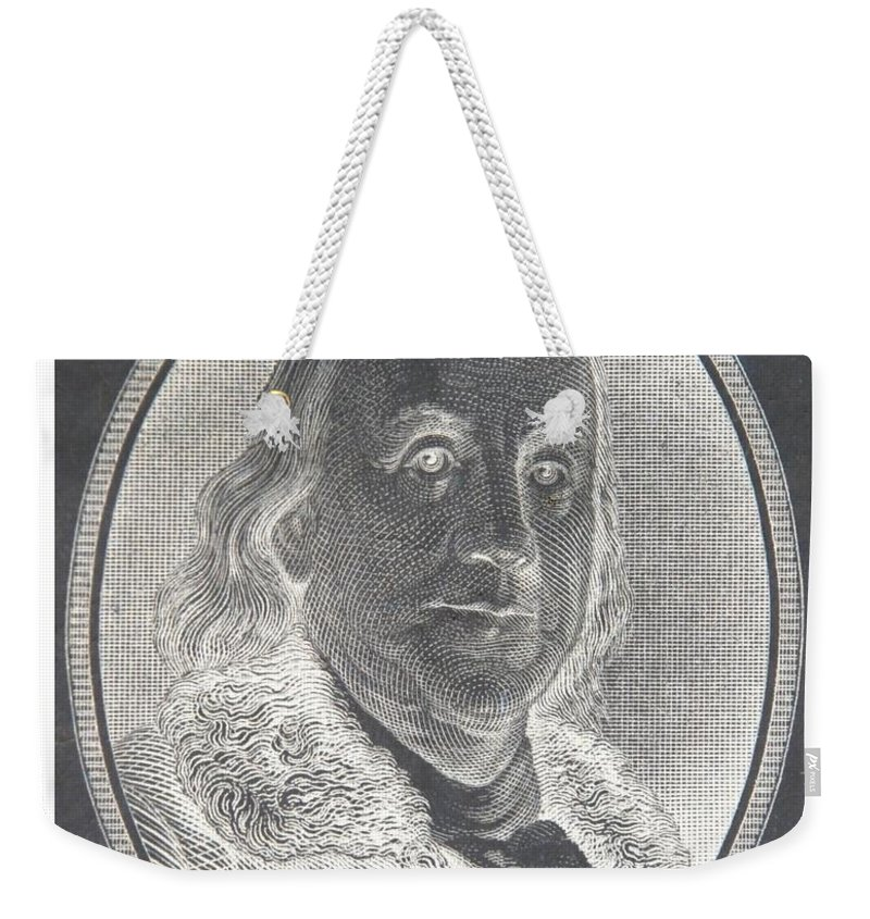 Ben Franklin Weekender Tote Bag featuring the photograph Ben Franklin In Negative by Rob Hans