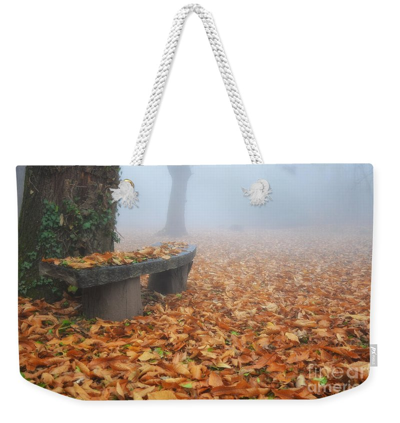 Bench Weekender Tote Bag featuring the photograph Bench In The Fog by Mats Silvan