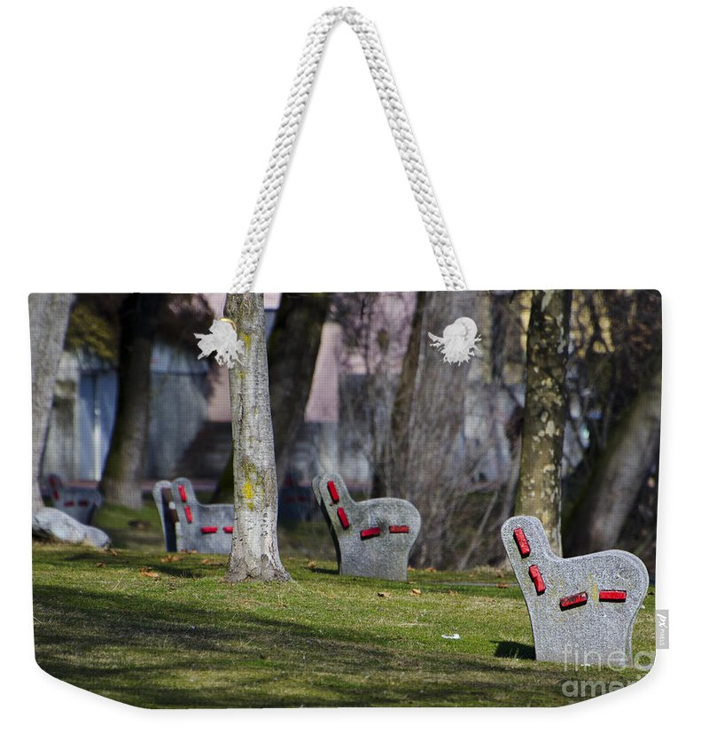 Benches Weekender Tote Bag featuring the photograph Benches by Mats Silvan