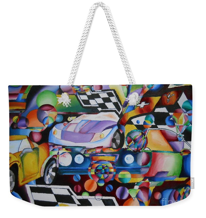 Corvette Weekender Tote Bag featuring the painting Ben's Car Show by Yenni Harrison