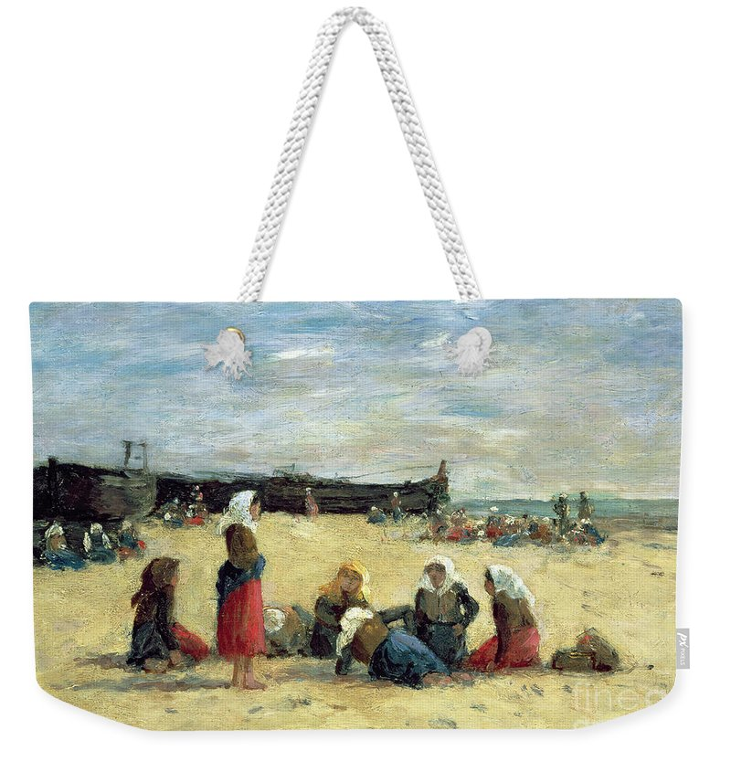 Berck Weekender Tote Bag featuring the painting Berck - Fisherwomen On The Beach by Eugene Louis Boudin