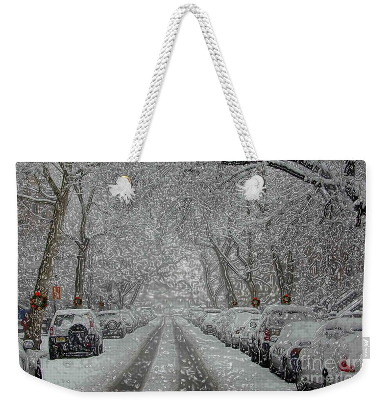 Snow Weekender Tote Bag featuring the photograph Berkeley Place by Mark Gilman
