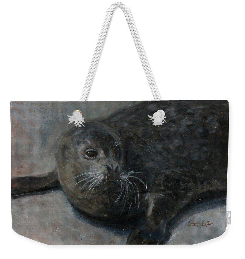 Bernie Weekender Tote Bag featuring the painting Bernie by Sarah Yuster