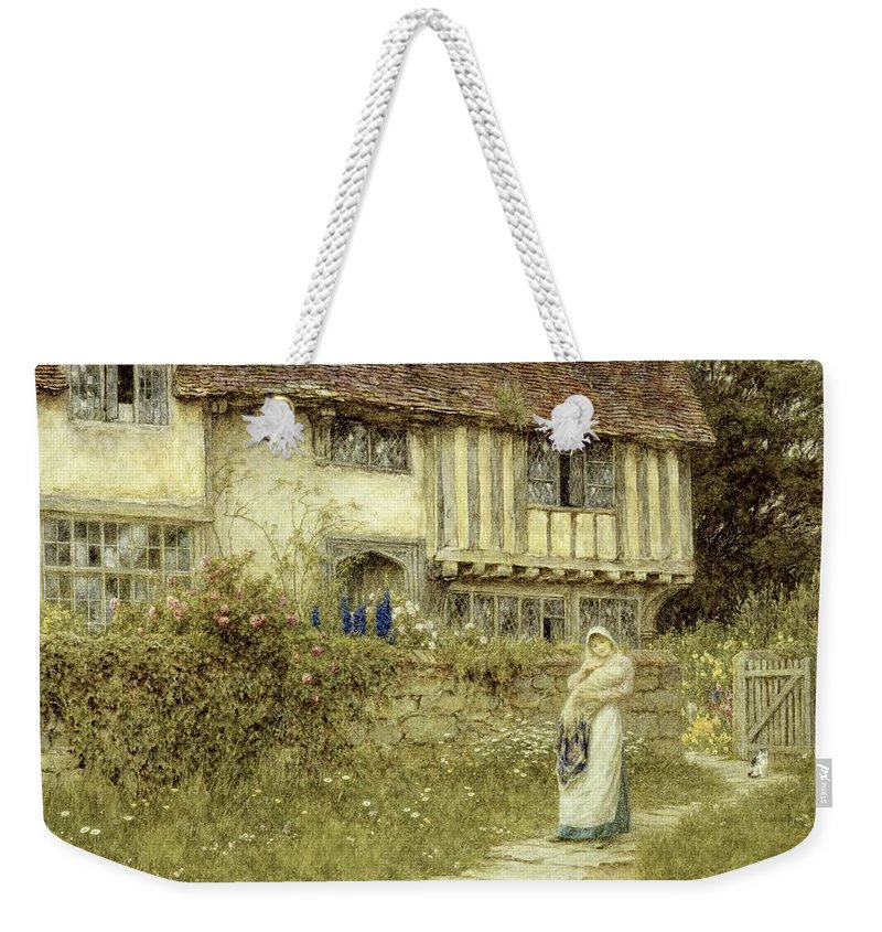Cottage; Mother And Child; Gate; Rural Scene; Country; Countryside; Timber Frame; Half-timbered; Home; Path; Garden; Wildflowers Picturesque; Idyllic; House; Female Weekender Tote Bag featuring the painting Beside The Old Church Gate Farm Smarden Kent by Helen Allingham