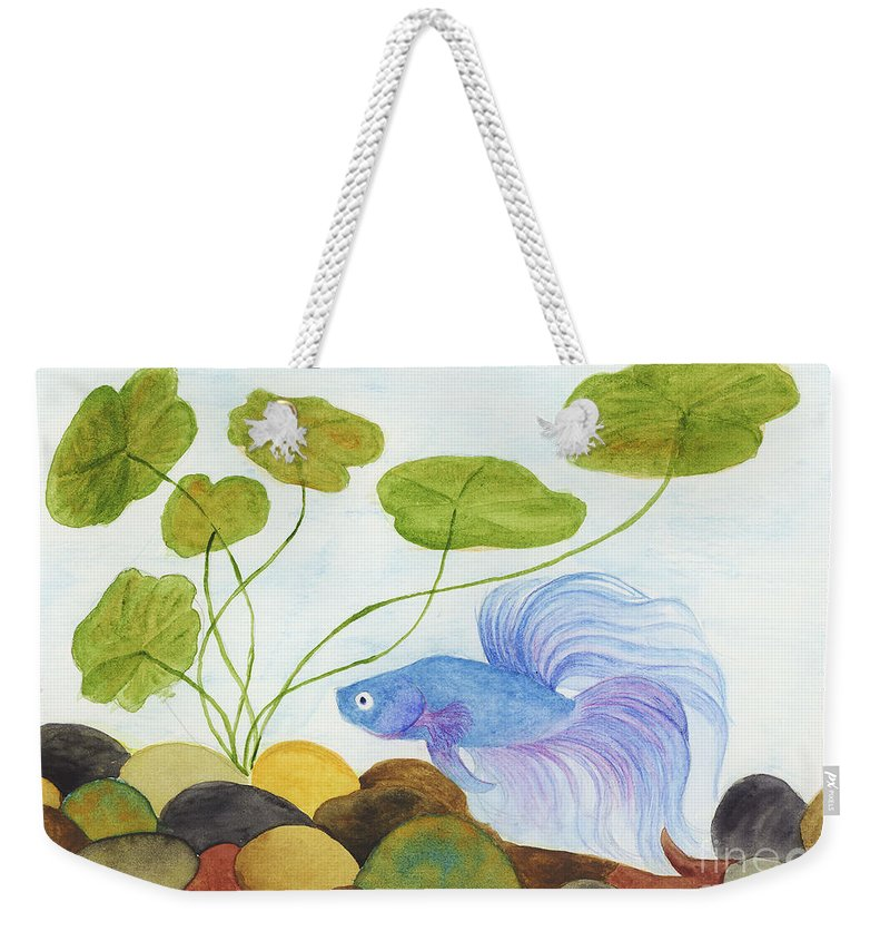 Betta Weekender Tote Bag featuring the painting Blue Betta 1 by Jackie Irwin