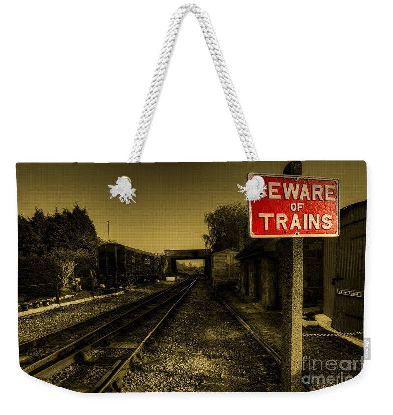 Beware Weekender Tote Bag featuring the photograph Beware Of Trains by Rob Hawkins