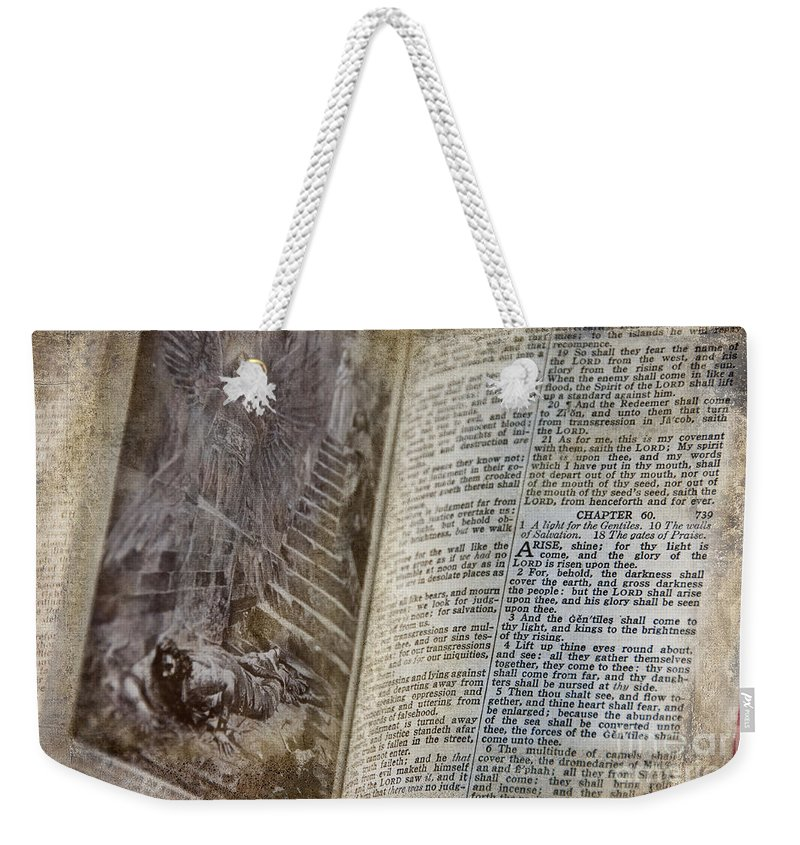 The Bible Weekender Tote Bag featuring the photograph Bible Pages by David Arment