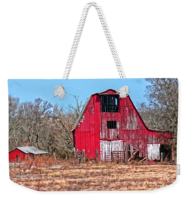 Barn Weekender Tote Bag featuring the photograph Big Red Barn by Ericamaxine Price