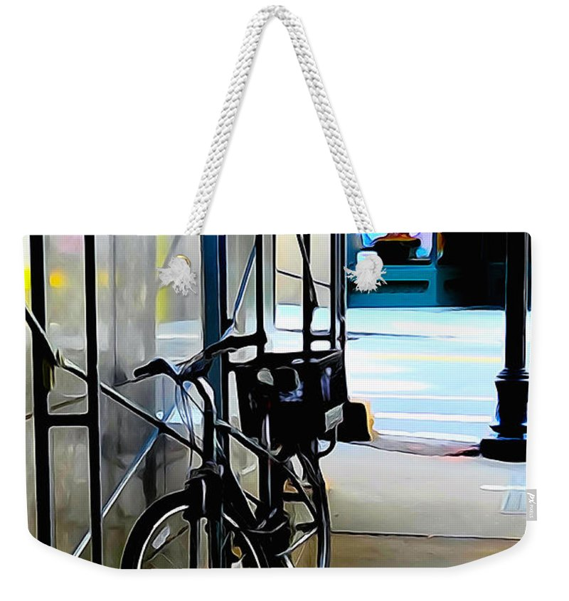 Bike Weekender Tote Bag featuring the photograph Bike - Scaffold - Lunchers - Water Color Conversion by Mark Valentine