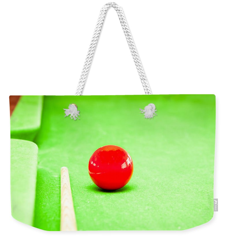Ambition Weekender Tote Bag featuring the photograph Billiard Table by Tom Gowanlock