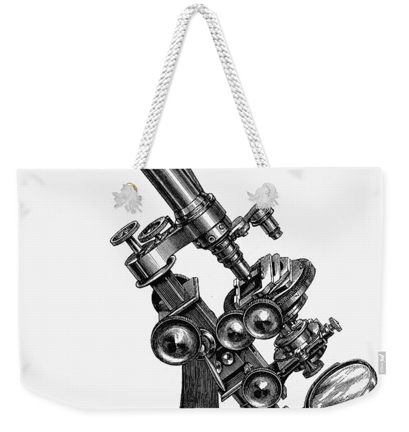 19th Century Weekender Tote Bag featuring the photograph Binocular Microscope by Granger