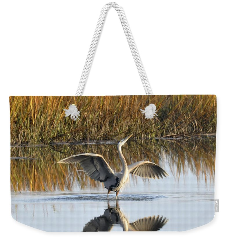 Great Blue Heron Weekender Tote Bag featuring the photograph Bird Dance by Kay Lovingood