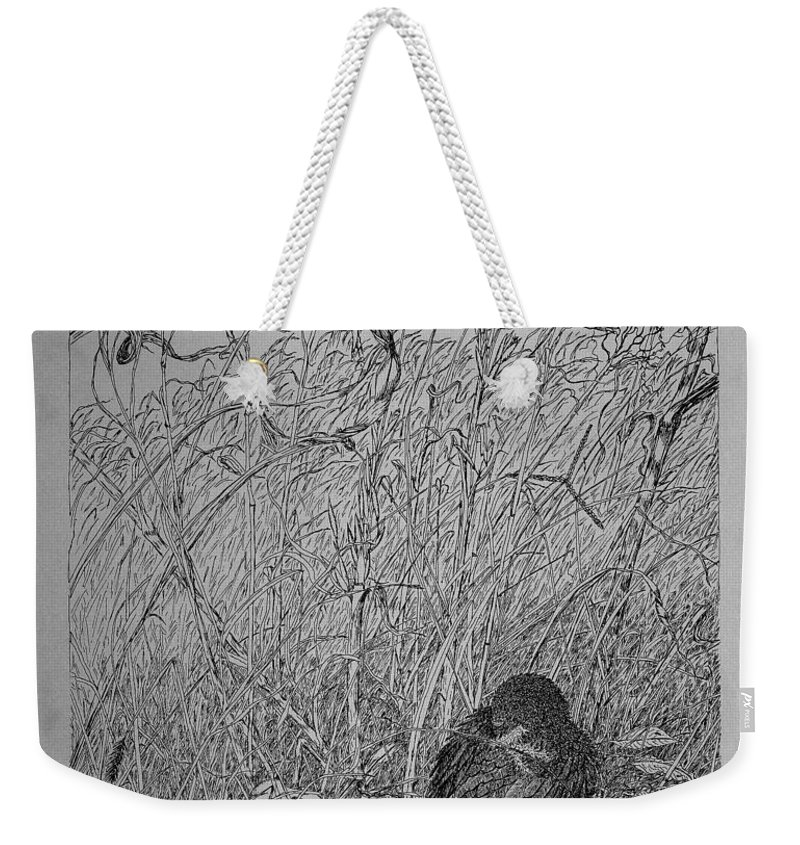 Pin And Ink Weekender Tote Bag featuring the drawing Bird In Winter by Daniel Reed