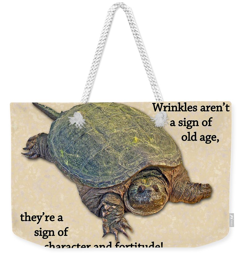 Birthday Weekender Tote Bag Featuring The Photograph Card American Snapping Turtle By Mother Nature