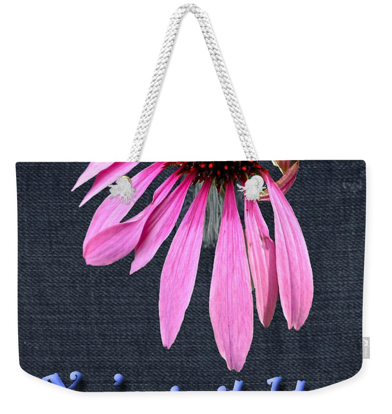 Invitation Weekender Tote Bag featuring the photograph Birthday Party Invitation - Coneflower by Mother Nature