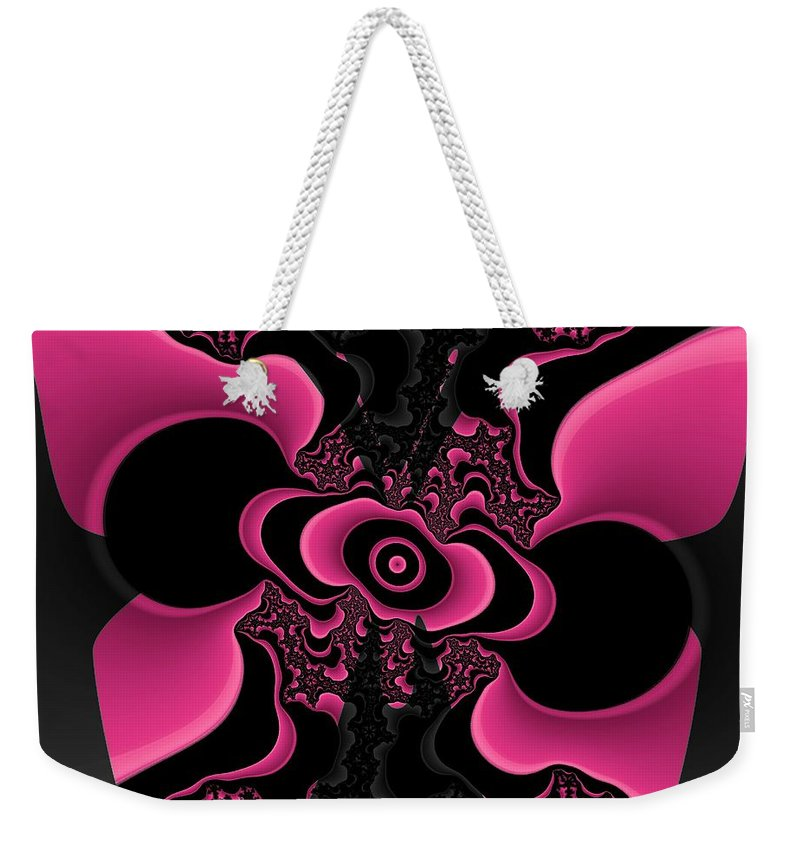 Black Weekender Tote Bag featuring the digital art Black And Pink Fractal Butterfly by Christy Leigh