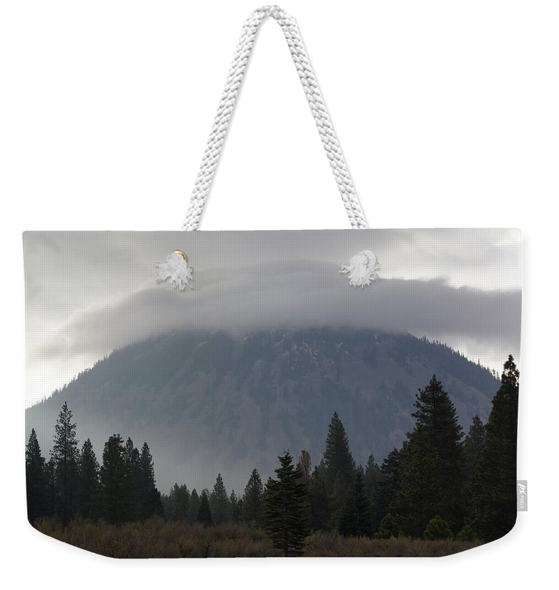 Black Butte Weekender Tote Bag featuring the photograph Black Butte With Lenticular Cap by Mick Anderson
