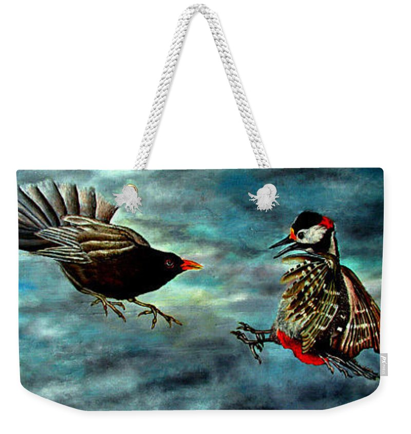 Birds Weekender Tote Bag featuring the painting Fight by Willem Boogaard