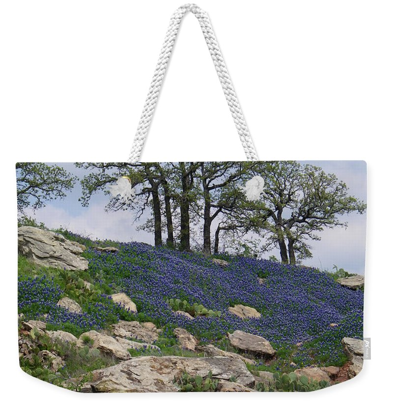 Texas Weekender Tote Bag featuring the photograph Blanketed In Blue by Gale Cochran-Smith