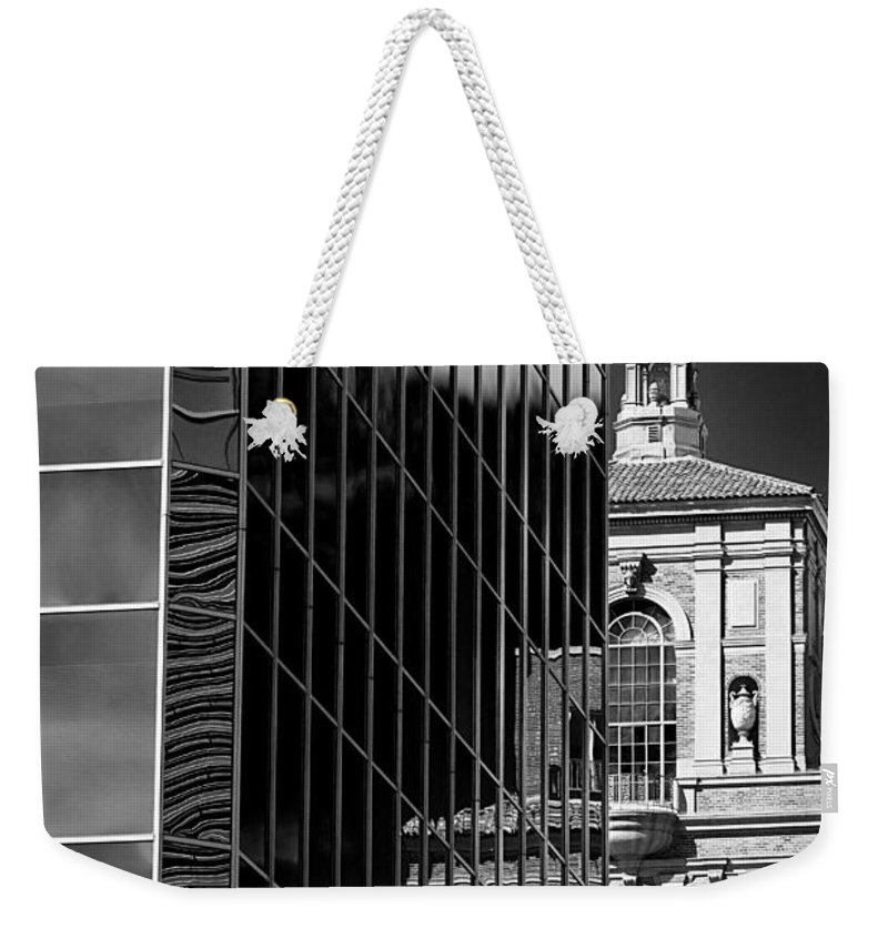 Building Weekender Tote Bag featuring the photograph Blending Architecture Black And White by Phyllis Denton