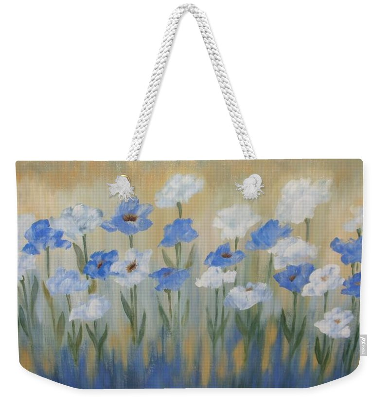Whimsical Weekender Tote Bag featuring the painting Blue And White Flora by Julie Cranfill