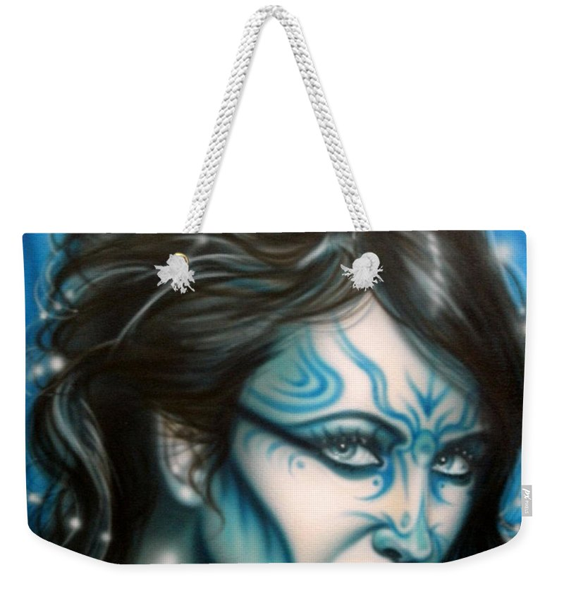 Fantasy Weekender Tote Bag featuring the painting Blue Beauty by Timothy Scoggins