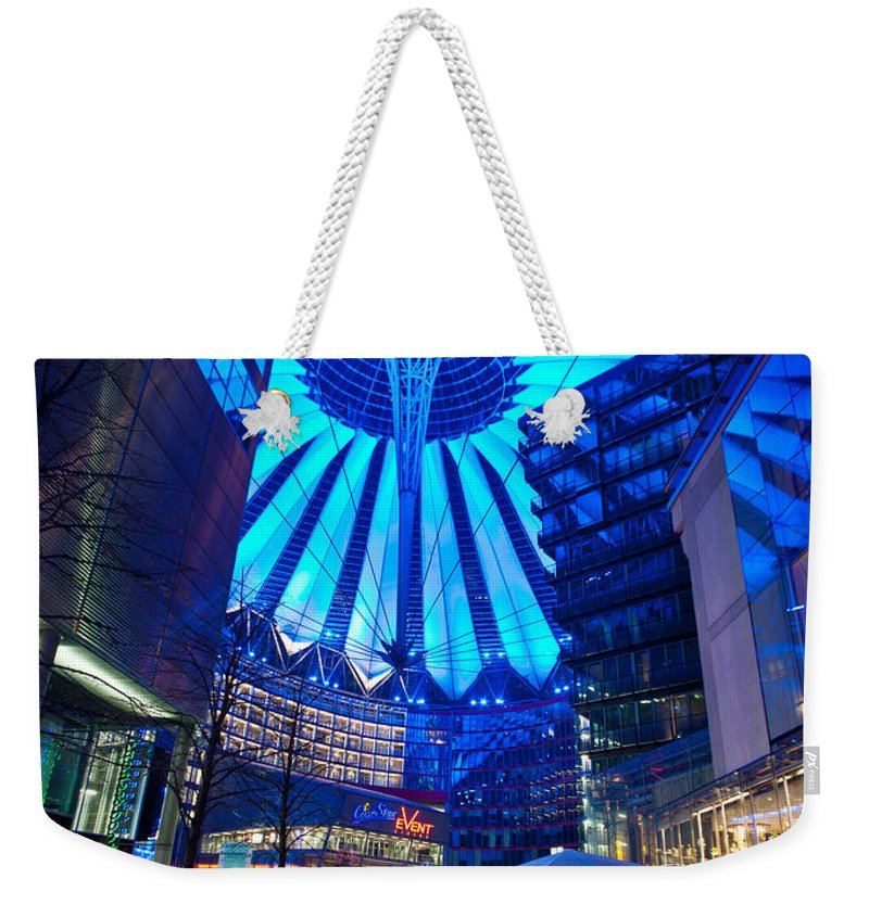 Sony Center Weekender Tote Bag featuring the photograph Blue Berlin by Mike Reid