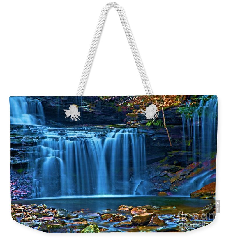 Waterfalls Weekender Tote Bag featuring the photograph Blue Cascades by Adam Jewell