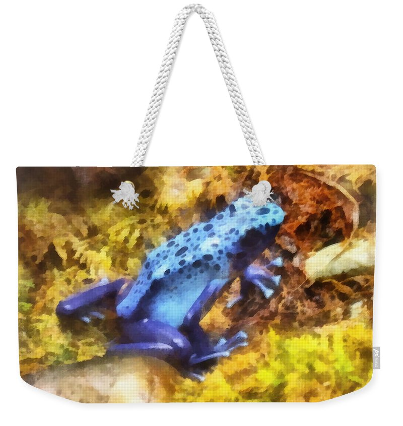 Frog Weekender Tote Bag featuring the photograph Blue Dart Frog by Susan Savad