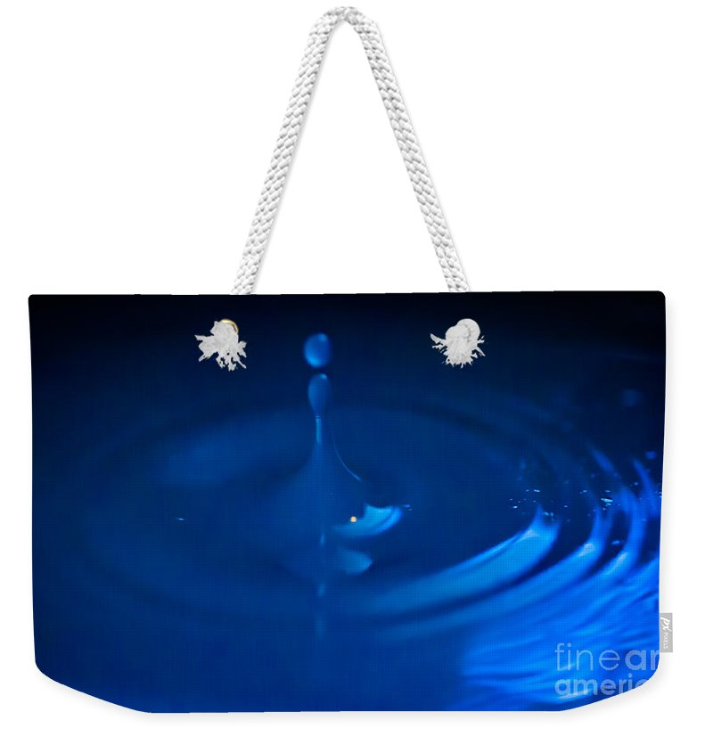 Blue Weekender Tote Bag featuring the photograph Blue Drops by Scott Hervieux