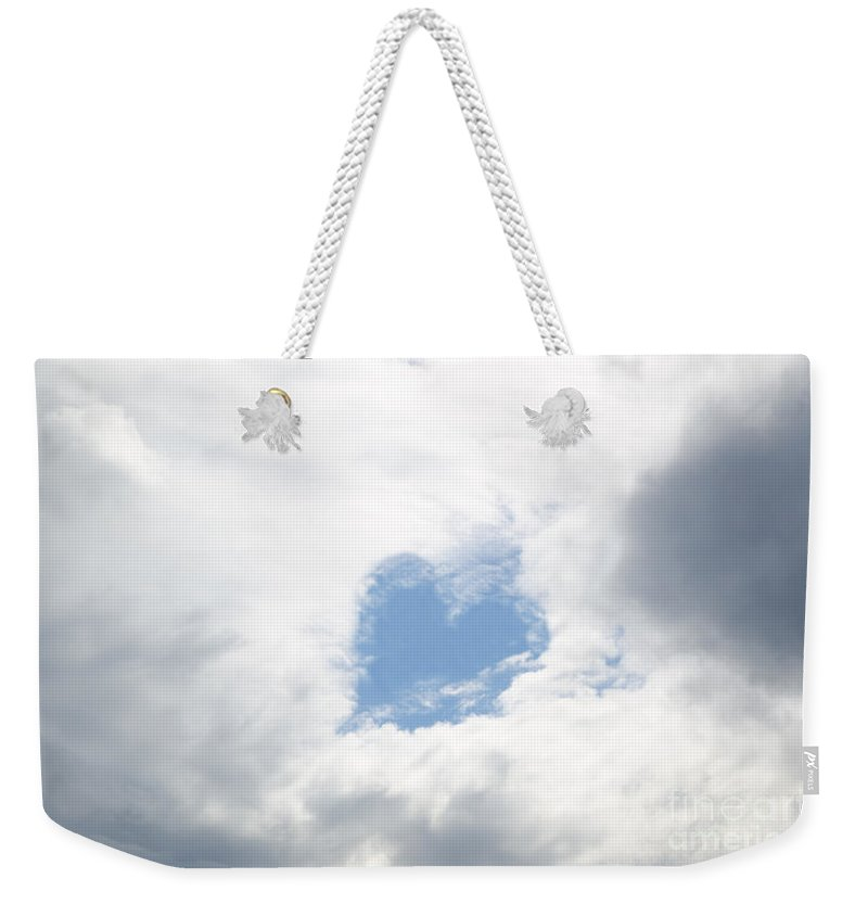 Heart Weekender Tote Bag featuring the photograph Blue Heart In Sky by Mats Silvan