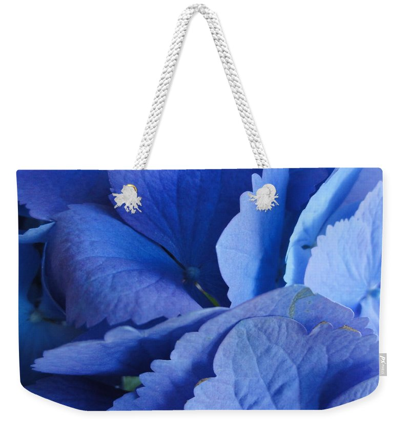 Blue Weekender Tote Bag featuring the photograph Blue Hydrangea by Shannon Grissom