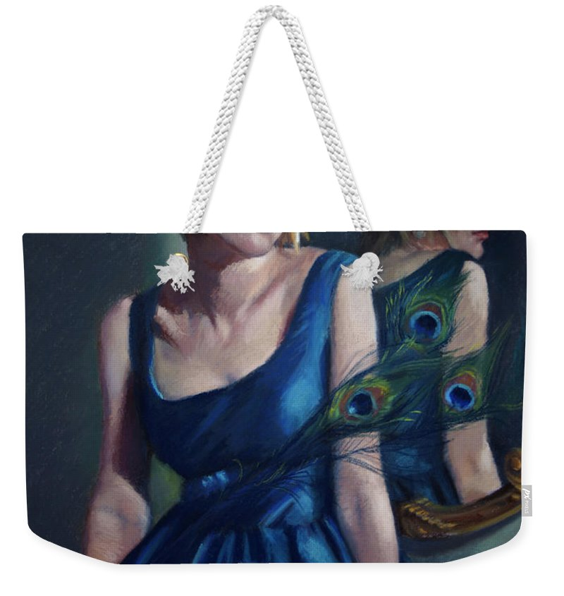 Beautiful Woman Weekender Tote Bag featuring the pastel Blue by Jean Hildebrant